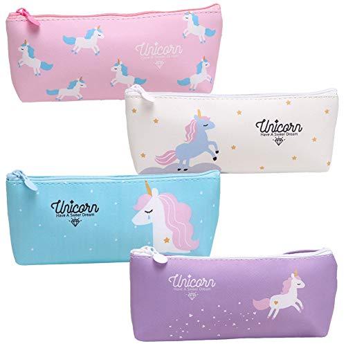 Astuccio4 Pcs Unicorno Astuccio, Durevole Pencil Case con Cerniere Zip,Set Penne per Unicorno Ragazze Regalo di Compleanno per Bambine Simpatiche Penne per Unicorno Set