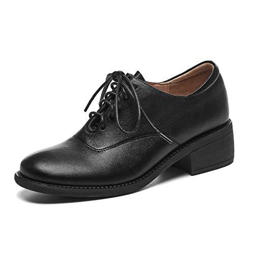 ANNIESHOE Blucher Mujer Cuero Cordones Derby Oxford Shoes con Tacon Plataforma Primavera Otoño Negro 35CN 35EU 22.5cm