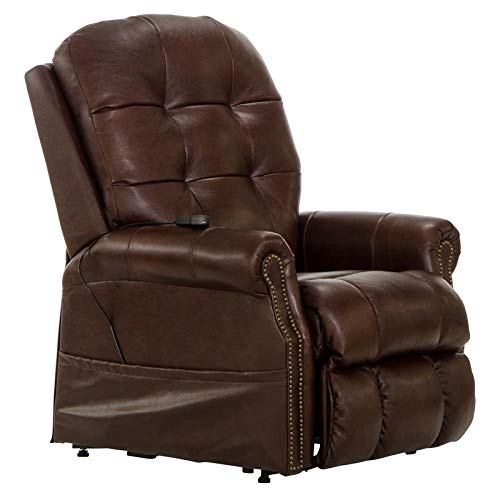 Catnapper Tyler Brown Leather Power Lift Lay Flat Recliner with Heat & Massage