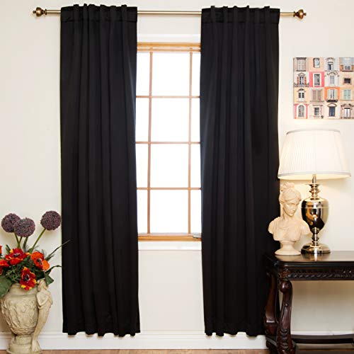 Blackout Curtain Black Rod Pocket Energy Saving Thermal Insulated 96 Inch Length Pair
