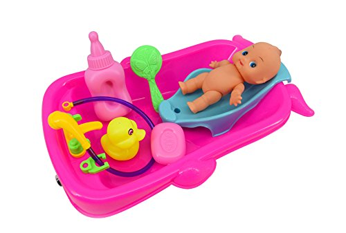 Verphaoed Bathtime Doll Bath Set Mini Whale Bathtub Toy with Baby Doll Pretend Play Bath Toys Games for Kids