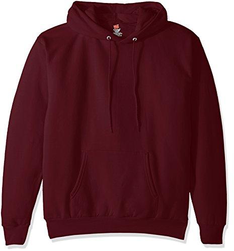 Hanes Men's Pullover EcoSmart Fleece Hooded Sweatshirt, Maroon, X Large