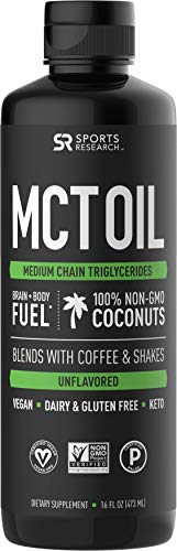 Premium MCT Oil derived only from Non-GMO Coconuts - 16oz BPA free bottle | Great in Keto Coffee,Tea, Smoothies & Salad Dressings | Non-GMO Project Verified & Vegan Certified (Unflavored) 1