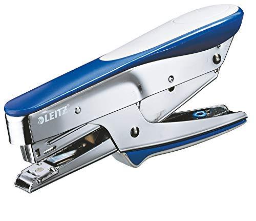Leitz Cucitrice a Pinza, Capacit fino a 15 Fogli, Blu, Design Ergonomico in Metallo con Inserti in Gomma Softgrip, Caricamento dall'Alto, per l'uso con Punti P2 (No. 10), 55450033