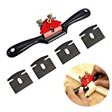 Anndason Adjustable SpokeShave with Flat Base and Metal Blade Wood Working Wood Craft Hand Tool with 4 PCS Planer Blade