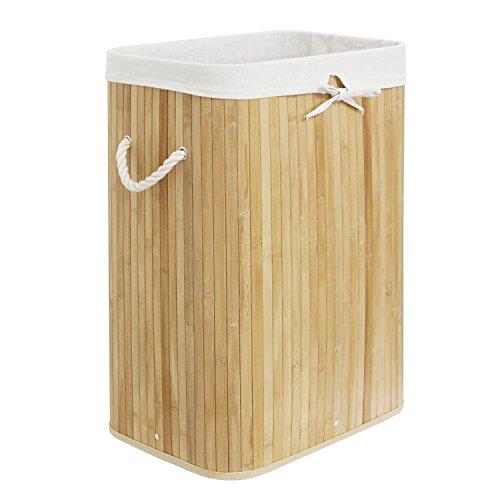 WM Homebase Wäschekorb aus Bambus Faltbare Wäschetruhe Aufbewahrungsbox mit Deckel naturfarben rechteckig(41x60x31cm) B003