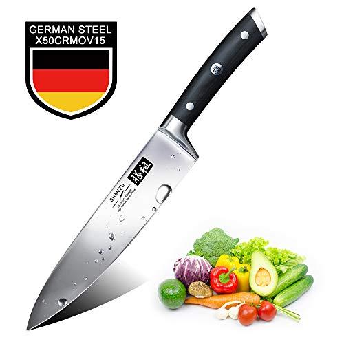 SHAN ZU Coltello da Cucina 20cm, Coltelli da Chef Professionale, Coltello da Cuoco Lama Acciaio...