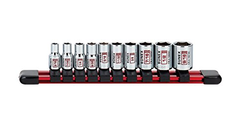 10Piece 1/4' Drive Chrome Socket Rail 6Pt SAE Standard