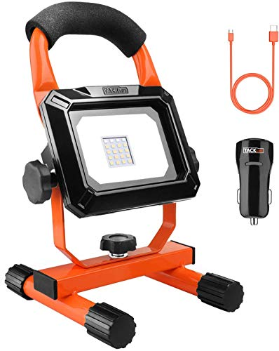 TACKLIFE Rechargeable LED Work Light, 15w Portable Flood Light, Waterproof IP65 Emergency Light, Portable Light for Camping, Fishing, USB Output for Mobile Device, 6000k Color Temperature