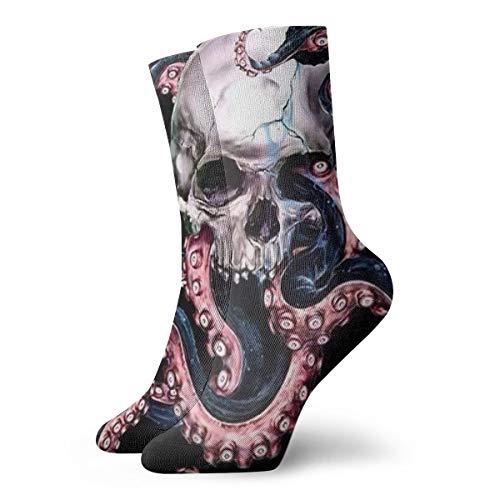 OUYouDeFanga Ocean Octopus Skull Calzini in cotone accoglienti calzini corti per yoga, escursionismo, ciclismo, corsa, calcio, sport