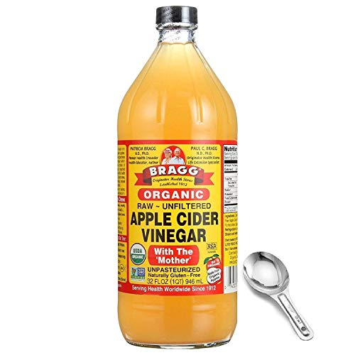 Bragg Organic Apple Cider Vinegar With the Mother– USDA Certified Organic – Raw, Unfiltered All Natural Ingredients, 32 Fl Oz W/ Measuring Spoon