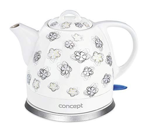 CONCEPT Hausgeräte RK0010ne Keramik Wasserkocher, Einzigartiges Design, attraktivem Blumendesign, 1 L, Weiß, 1100 W