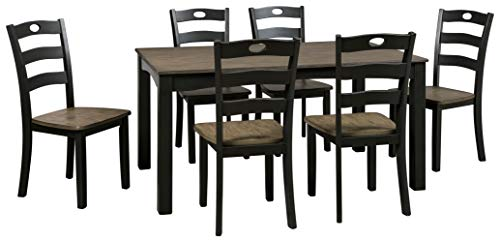 Signature Design by Ashley Froshburg Dining Room Table and Chairs (Set of 7), Grayish Brown/Black