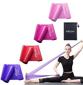 Lot de 4bandes de fitness, de gymnastique, de résistance, élastiques, avec un sac de transport, pour le yoga, le pilates et la physiothérapie