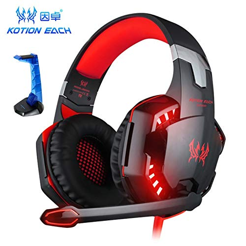 Gaming Headset for PS4, PC, Xbox One,Professional Noise Isolation Over Ear Headphones with Mic, LED Light, Wireless Gaming HeadphonesBass Surround, Soft Memory Earmuffs for Laptop Mac Nintendo