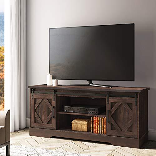 WAMPAT Mobile Porta TV in Legno Adatto a TV 32 43 55 65 Pollici, Supporto TV Moderno con 2 Ripiani e...