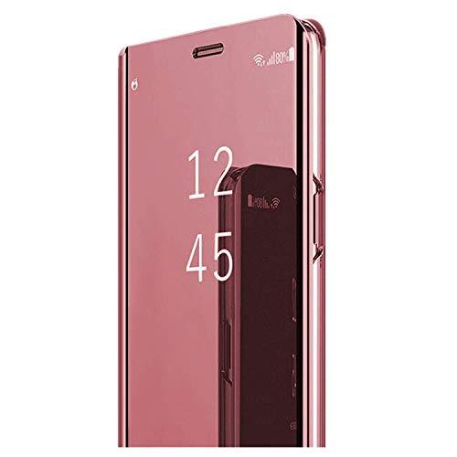 Custodia per Samsung Galaxy J5 2016 Cover Caso Specchio Clear View Standing Cover Ultra Folio Flip Stile Pelle Libro Funzione Protettiva Case per Galaxy J5 2016 (Rosa, Galaxy J5 2016)