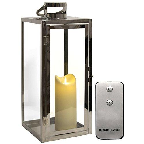 Dekovita Edelstahl-Laterne 49cm Temperglas Gartenlaterne inkl Tronje 18cm Outdoor LED-Kerze Weiß m. Timer Fernbedienung