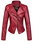 chouyatou Women's Candy Color Asymmetric Zip Slim Faux Leather Cropped Moto Jacket (Large, Dark Red)