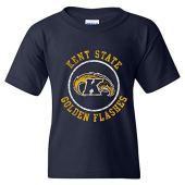 Ncaa logotipo de círculo envelhecido, camiseta juvenil com cor de time, faculdade, universidade, kent state golden flashes navy, large