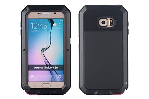 Galaxy S6 Case, Amever Aluminum Metal Case with Silicone - Water Resistant Shockproof Metal Bumper Heavy Duty Tempered Glass Dual Layer Protective Skin Cover Case for Samsung Galaxy S6 - Black