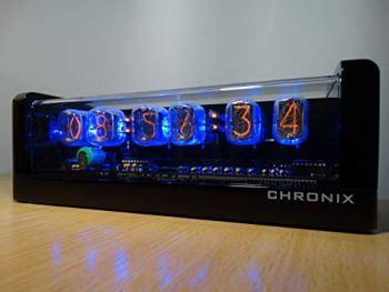 CHRONIX Horloge Tube Nixie avec 6 x IN-12 Tube Afficher & Alarme & Rétro-éclairage Bleu & Caisse en Bois Finition Noire Brillante