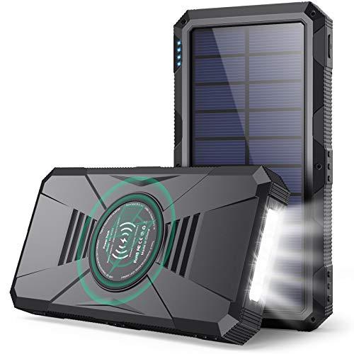 Power Bank Solare 30800mah,15W Wireless Qi...