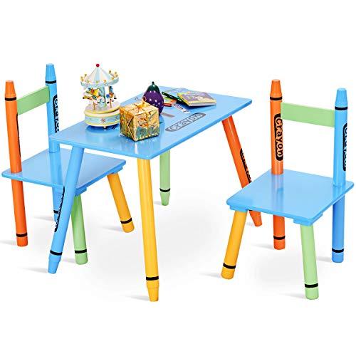 COSTWAY Sitzgruppe Kinder, 3tlg. Kindersitzgruppe, Kindermöbel aus Holz, Kindertisch mit 2 Kinderstühlen