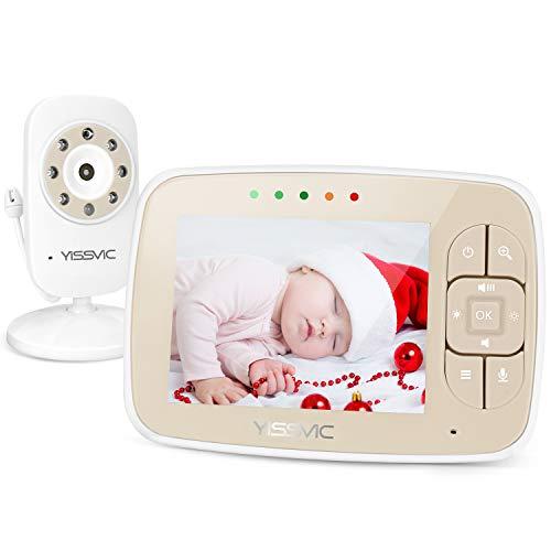 Yissvic Baby Monitor, 3.5'' Schermo, Batteria 950mAh Funzione VOX Visione Notturna Controllo temperatura Ninnenanne Attivazione Vocale Citofono Bidirezionale 2x Zoom Fino a 4 Telecamere Collegabili