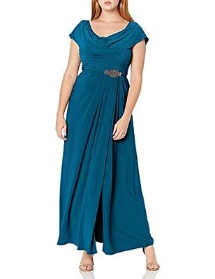 "Long Stretch Matte Jersey A-Line Dress Elegant Cowl Neckline and Back Pleated Bodice Embellished Waist Detail Center back length: 44"""