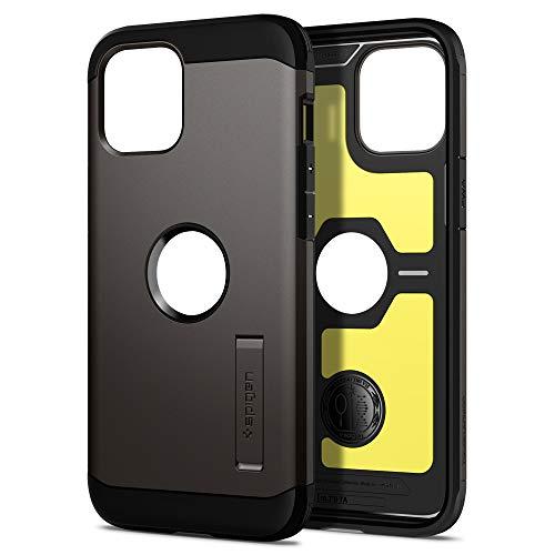 Spigen iPhone 12 Pro Max ケース 6.7インチ 対応 米軍MIL規格取得 耐衝撃 三層構造 スタンド付き スマホスタンド カメラ保護 傷防止 衝撃 吸収 Qi充電 ワイヤレス充電 アイフォン12プロマックスケース カバー シュピゲン タフ・アーマー (ガンメタル)