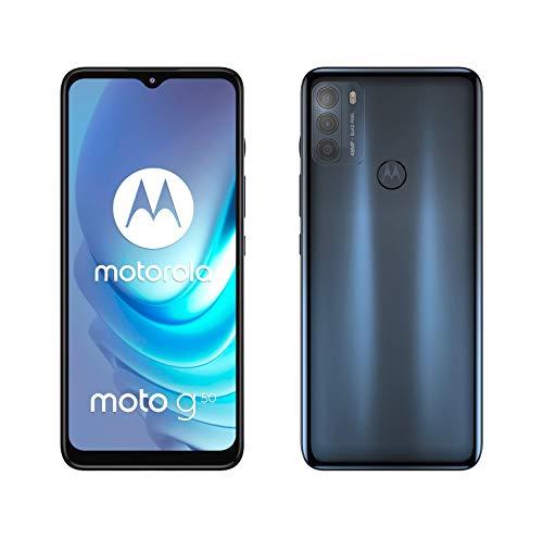 """moto g50 (pantalla 6.5"""" Max Vision HD+, Qualcomm® Snapdragon™ 480 2.0 GHz octa-core, cámara triple de 48MP, batería de 5000 mAH, Dual SIM, 4/128GB, Android 11), Gris [Versión ES/PT]"""