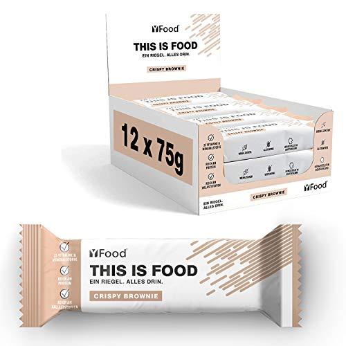 YFood Riegel Crispy Brownie | Glutenfreier Nahrungsersatz | Proteinriegel | 23g Protein, 25 Vitamine und Mineralstoffe | Leckerer Energieriegel | Mahlzeitersatz, 12 x 75g