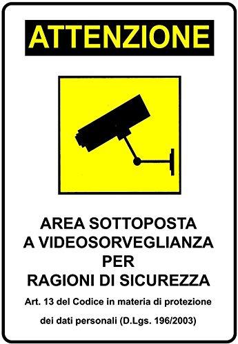 COMPRARE WEB 12 x Cartello Adesivo Area sottoposta a videosorveglianza plastificato 30X20CM