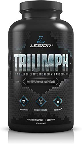 Legion Triumph Daily Men Multivitamin Supplement - Vitamins and Minerals for Athletes Helps w/Mood, Stress, Immune System, Heart Health, Energy, Sports & Bodybuilding Workouts. 30 Svgs.… 1