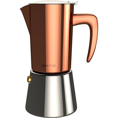 bonvivo Intenca Caffettiera a Induzione, Moka a Induzione, Caffettiera in Acciaio Inox – Caffettiera per Espresso/Caffettiera da 6 Tazze in Acciaio Inox con Rifiniture in Rame Cromato.