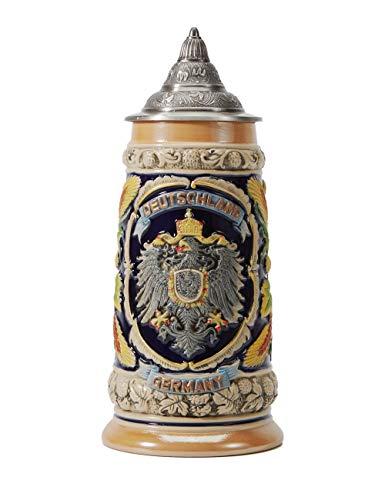Boccale di Birra Con Coperchio Regali Fatti a Mano Souvenirs Bicchieri da Birra Rilievo inciso delle Germania Stemmi Sicurezza Alimentare Confezione Regalo 0.6 Litre