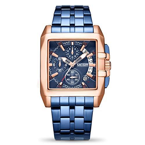 MEGIR Uhr für Herren Mode Wasserdichter Sport Chronograph Analog Quarz Blaues Zifferblatt Edelstahl Armband Uhr Herren