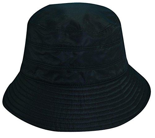 Scala Classico Women's Nylon Water Repellent 3 Inch Brim Lined Rain Hat, Black