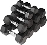 CAP Barbell Rubber Coated Hex Dumbbell Set Non-Slip Hex Shape for Muscle Toning, Strength Building, Weight Loss - Multiple Choices Available (b. 10-30Lb Dumbbell Set)