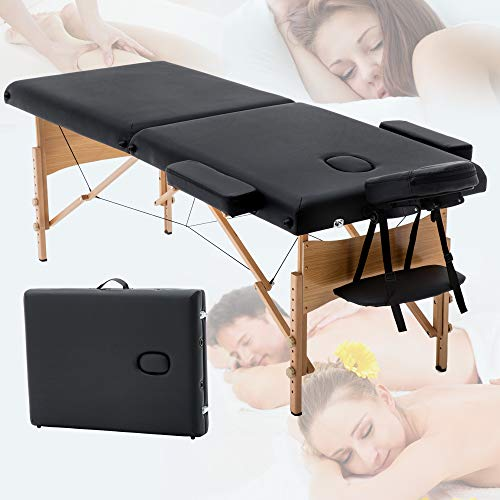 """Folding Professional Massage Table Portable Lash Bed Tables Facial Spa Beds for Esthetician Adjustable PU Leather Salon Bed Eyelash Tattoo Table Wax Table, 2"""" Thick Pad, 73"""" - Black"""
