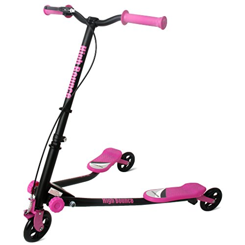 High Bounce Y Slicker 3 Wheel Wiggle Drift Scooter - Great Outdoor Scooters for Kids and Adults, Foldable (Pink, 32 Inches)