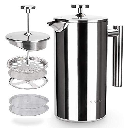 Secura French Press Kaffeebereiter, Edelstahl 304, isoliert, Kaffeepresse mit 2 extra Sieben, 1 Liter, Silber