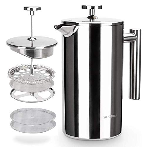Secura French Press Coffee Maker, 304 Grade Stainless Steel...