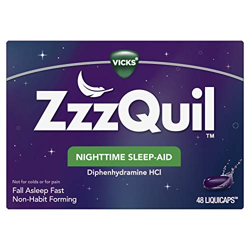 ZzzQuil Nighttime Sleep Aid LiquiCaps, 48 ct, Non-Habit Forming