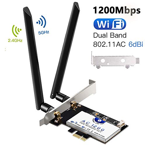 Scheda di Rete Wireless Wi-Fi con Bluetooth 4.2, Hommie 1200M 867mbps Scheda di Rete PCI, Wireless...