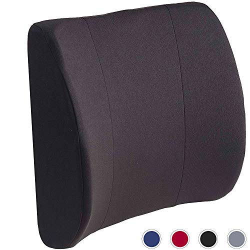 DMI Lumbar Support Pillow for Office or Kitchen Chair, Car Seat or Wheelchair comes with Removable Washable Cover and Firm Insert to Ease Lower Back Pain and Discomfort while Improving Posture, Black