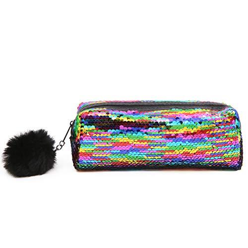 Grande astuccio reversibile con lustrini, per la scuola, con glitter (Colore arcobaleno)
