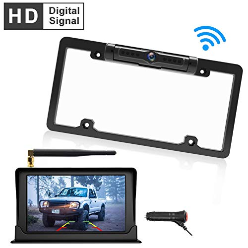 Calmoor Upgrade Digital Signal Wireless Backup Camera System Kit with HD 5' Monitor IP69K Waterproof 170 Degrees Angle License Plate Camera with Parking Lines for Cars SUVs Trucks Pickups MiniVans