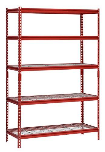 Muscle Rack UR482472WD5-R 5-Shelf Steel Shelving Unit, 48' Width x 72' Height x 24' Length, Red